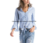 Womens Casual V Striped Chiffon Blouses Long Sleeve Tops ESG10609