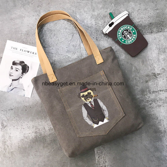Women Canvas Handbag Kaukko Shoulder Bag Cat Tote Bag ESG10772