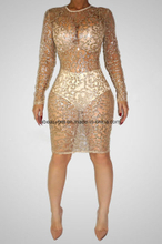 Women Hot Sleeveless Paillettes Sequins Full Length Bodysuits Jumpsuits ESG10437