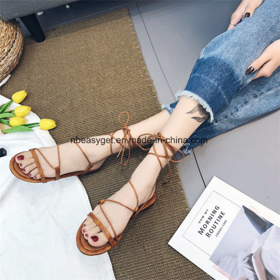 Women Flat Lace up Espadrilles Summer Dressy Flip Flops ESG10584