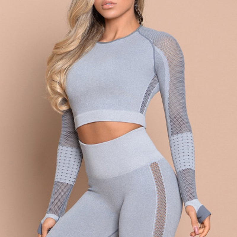 Stylish Mesh Long Sleeves Crop Tops Seamless Sports Wear Set ESG13347