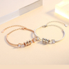 Adjustable Women Bangle Bracelet Chain with Diamond Charms Jewelry ESG13387