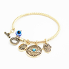 Women′s Dangling Evil Eye and Hamsa Hand Charm Twisted Bracelet ESG13419