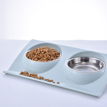 Double Pet Bowls Stainless Steel Pet Bowls No-Spill Basin Food Water Feeder ESG12364
